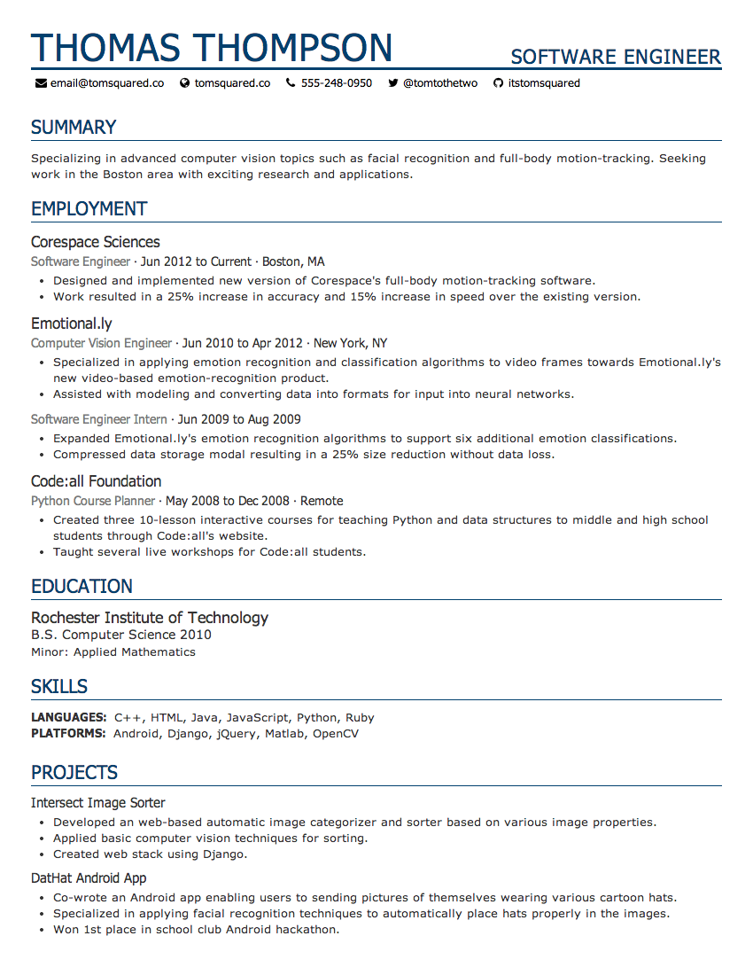 size font for resume